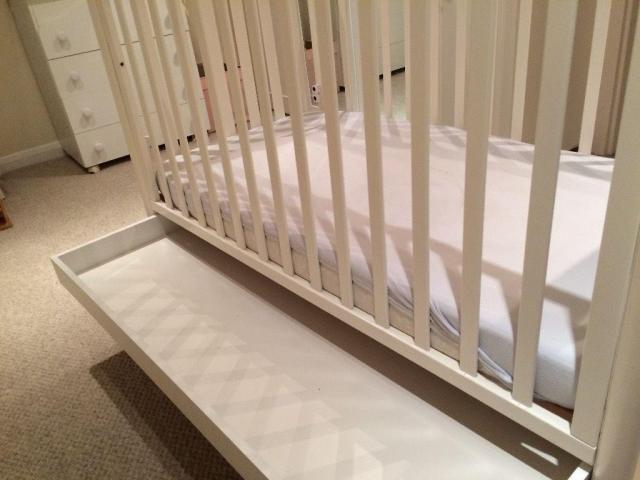 Pali-Brand White Cot, Mattress, Changing Table/Dresser PLUS Lovely High-End Linens