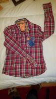 Superdry mens red checked shirt L