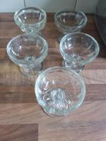 Set of 5 glass dessert dishes