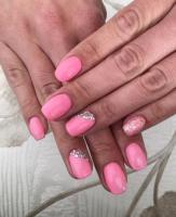 Shellac manicure, gel nail overlay