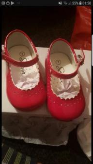 red mary-jane infant shoes