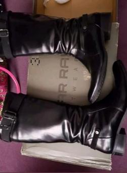 black leather G-star raw boots
