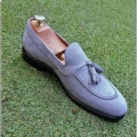 handmade suede leather moccasin shoe for men's