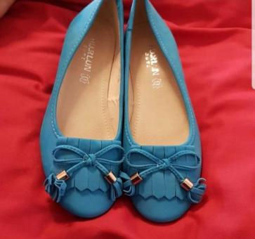 Blue Ladies Flat Shoes