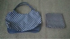 Navy polka dot bag + Scarf