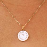 white clock face gold plated necklace