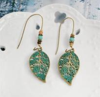 vintage hollow leaf bead long earrings