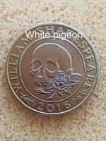 2 pounds coin William Shakespeare Macbeth rose & skull 2016