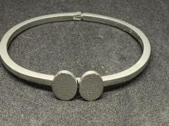 Silver Coloured Hinged Cuff Bracelet