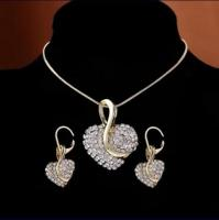 Zircon Crystal Necklace, Earrings and Cuff Bracelet Set (New)