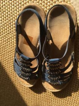 Sandals blue with blue and silver tassels. Size -UK: 5