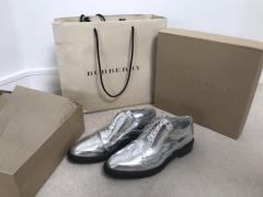 Burberry brogue silver metallic Oxford shoes in mint condition UK6