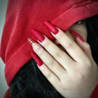 Red Laurenti press on nails