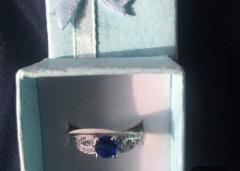 Silver 925 Stamped with Blue Quartz Size P New in Box