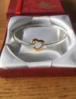 Silver 925 Stamped Bangle with Heart Fastener New in Box