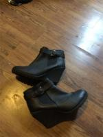 Ladies Black leather Ankle Boots Size 6