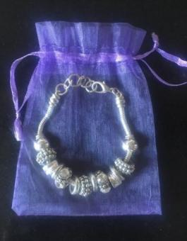Silver plated 20cm Bracelet with Charms in Organza Bag (postage available)