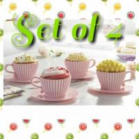 Set of 4 Teacup Cupcake Cases