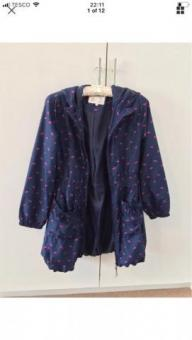 M&S Navy/Pink Hooded Raincoat Umbrella Pattern 13-14 Yrs UK10/12