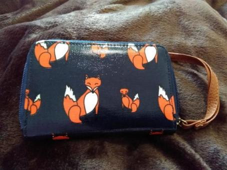plastic leather wallet with cartoon foxes on