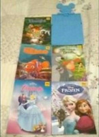 5 disney storybooks and Mickey Mouse bookrack