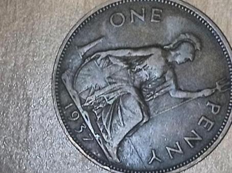Collectible british rare coin 1937 George v penny