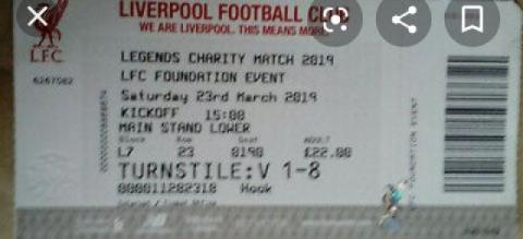 Ticket of Gerard's last LFC game