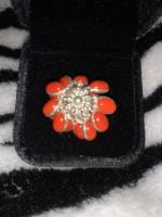 Hand Made Red Coral Floral Ring Brand New .Sterling Silver Statement Real Coral Ring . Size N