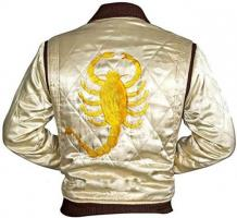 Satin sheen cream padded bomber  Jacket from movie Drive . The back of jacket is big scorpion.