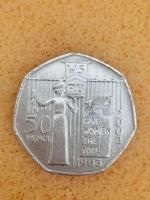 50p coin give women the vote 2003.
