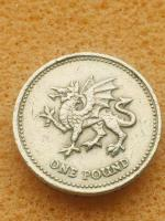 Old 1 pound coin welsh dragon 2000.