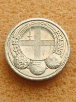 Old 1 pound coin London cities 2010....