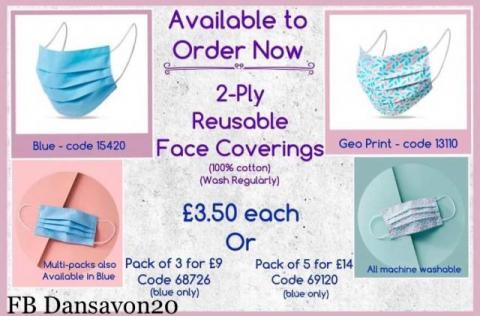 Face masks and hand gel