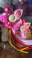 Hairband with material cotton flowers