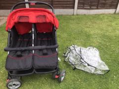 VIDA XL NETHERLANDS  DOUBLE RECLINING PUSHCHAIR WITH RAINCOVER