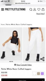 White pretty little thing joggers