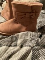 Fluffy pink boots