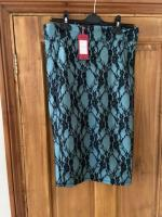 Ice Babes teal and black lace ladies skirt