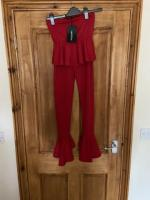 Ladies red frills jumpsuit