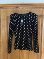 Sliver dots and gold dots black tops