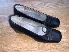 Black leather wedge heels size 5.5 -Softiees BRAND