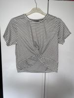 Cropped black and white crossover T-shirt size 10