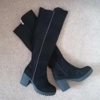 Amy Knee High Boots - Black Suede