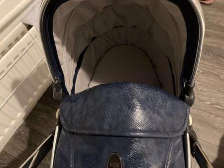 Egg blue snakeskin pushchair