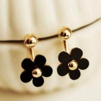 Gold plated black floral stud earrings