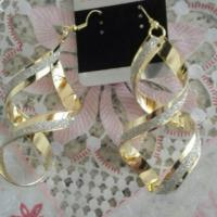 Gold plated twisted drop earrings
