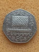 50p coin lager 1980.. Isle of Man Viking long ship .