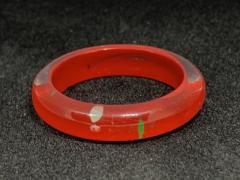 Red Plastic Ring (White & Green Dots) Size Q
